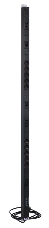 r-16-10s-10c13-fi-1420-3 вертикальный блок розеток rem-16 с фил. и инд., 10 schuko, 10 c13, 16 a, алюм.,33...38u, шнур 3м
