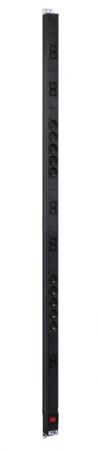 r-16-10s-10c13-v-1420 вертикальный блок розеток rem-16 с выкл., 10 schuko, 10 c13, вход iec 60320 c20 16a, алюм., 33...38u