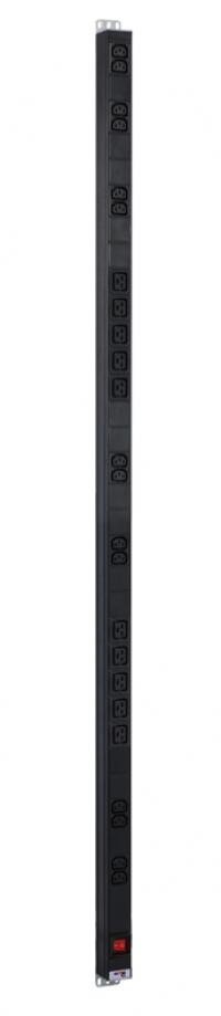 r-16-14c13-10c19-v-1420 вертикальный блок розеток rem-16 с выкл., 14 iec 60320 c13, 10 c19, вход c20 16 a, алюм., 33...38u