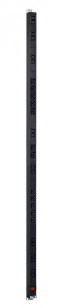 r-16-16c13-12c19-v-1820 вертикальный блок розеток rem-16 с выкл., 16 iec 60320 c13, 12 c19, вход c20 16 a, алюм., 42...48u